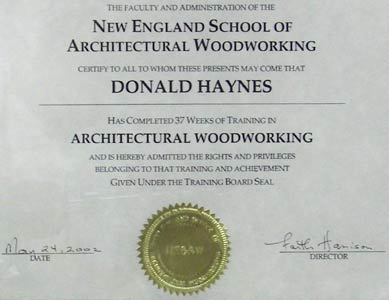 Architectural Woodworking Certificate