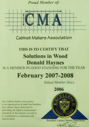 Cabinet Makers Association Certificate