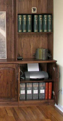 Walnut wall unit detail showing storage